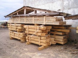 start of construction of a wooden house